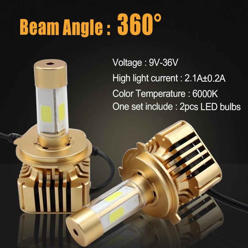 ФОТО 2Pcs 80W 8000LM H7 COB Car LED Headlights Conversion Kit Single Beam 4-Sides Auto Lamp Driving Light Lamp 6000K Replace Halogen
