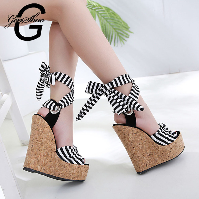 GENSHUO Women Platform Ankle Strap Sandals Bohemia Stripe Bow Knot Ultra High Heels Wood 16cm Wedges Women Sandals Ladies Shoes