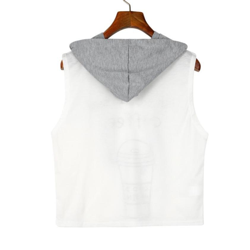 Women Fashion Sexy Sleeveless Coffee Print Hooded Crop Sleeveless T-Shirt Tops Mar 16