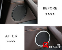 Aluminum Interior Car Speaker Audio Ring Decoration Trim Cover Glossy For BMW X3 F25 2011 2012 2013 2014 2015