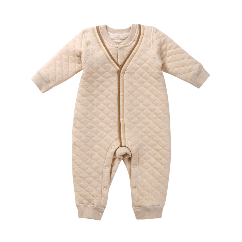 Newborn Baby Boy Girl Winter Autumn Organic Cotton V-neck Long Sleeve Rompers Clothes Infant Toddler Unisex Baby Jumpsuit Onesie baby overalls long sleeve rompers clothing cotton dog anima 2017 new autumn winter newborn girl boy jumpsuit hat indoor clothes