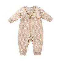 Nouveau-né Bébé Garçon Fille Hiver Automne Coton Biologique Col V À Manches Longues Barboteuses Vêtements Infant Toddler Unisexe Bébé Salopette Onesie