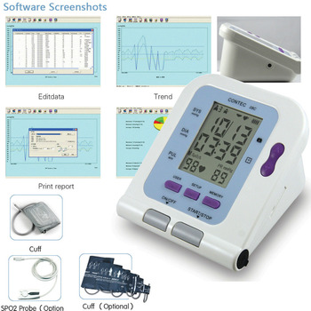 FDA CE Digital Upper Arm blood pressure Monitor+Adult BP cuff+PC Software CONTEC08C 2