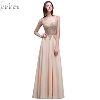 Robe Soiree New Champagne Lace Embroidery Beaded Long Evening Dress Sexy Sheer Back Chiffon Evening Party
