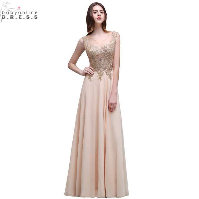 Robe Soiree New Champagne Lace Embroidery Beaded Long Evening Dress Sexy  Sheer Back Chiffon Evening Party Dresses c1893f7fce6a