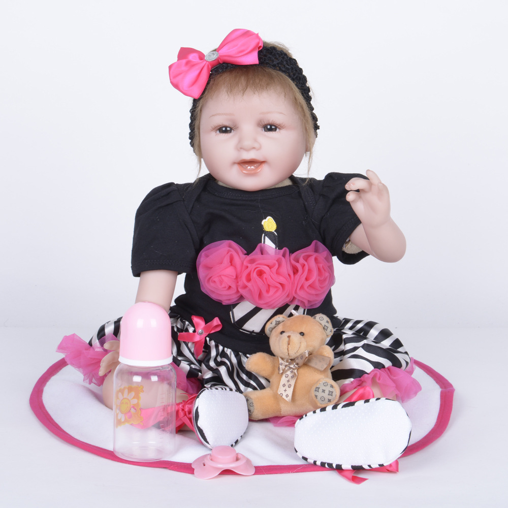 22 Inch Reborn Baby Doll Sleeping Smiling Lifelike   Alive Girl Doll Realistic Doll With   Beautiful Dress For Gifts Toys   Coll original winx club bloom musa beautiful girl magiche fan doll collection toys