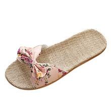Дышащие льняные Вьетнамки; женские повседневные льняные тапочки; сандалии с цветочным принтом и бантом; домашняя обувь; Suihyung; женские летние пляжные шлепанцы