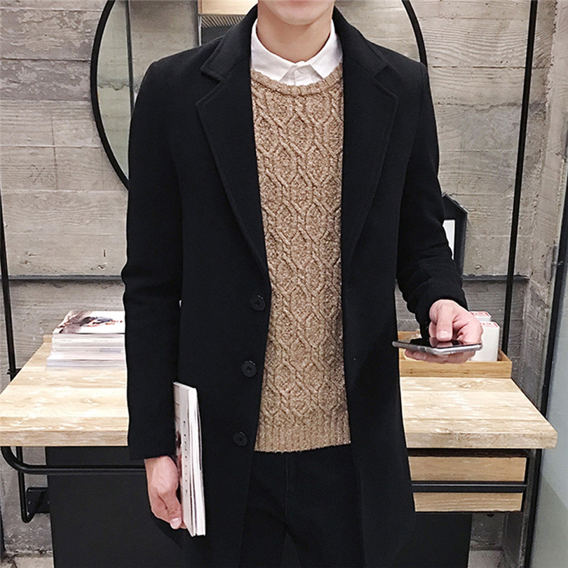 fashion Men Autumn Winter Formal Single Breasted Figuring Overcoat Daily casual Long Wool Jacket Outwear Top #4M25 (9)
