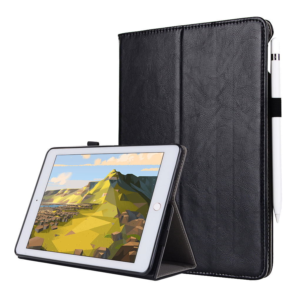 For iPad Pro 9.7 / Air 1 2 Smart Tablet Case Cover High Quality Genuine Leather+PU Folding Stand Case+Card Slots+Pencil Holder