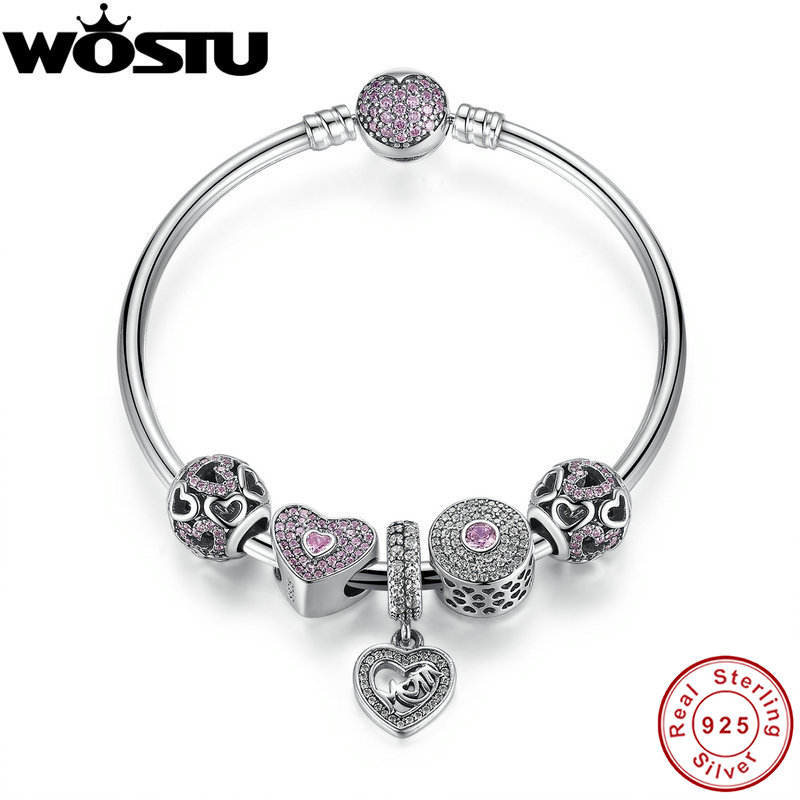Hot Sale  Sterling Silver Bangles  Bracelet With Mum Sweetheart Charms