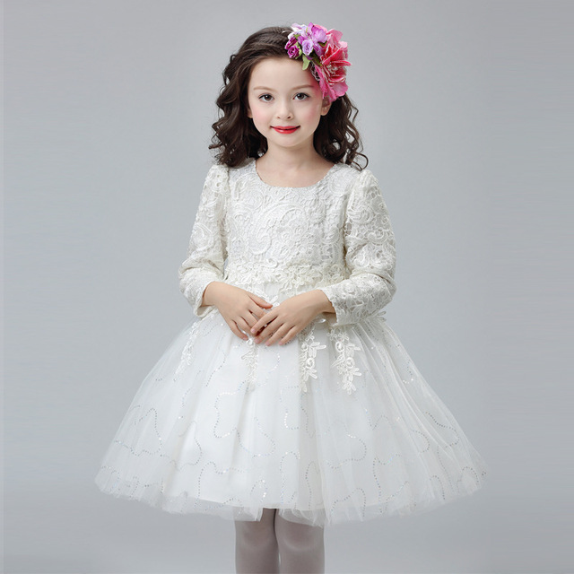 31cc0b9203c3 Girls Lace Flower Princess Dress Pink Long Full Sleeve Clothes Bow Frocks  Designer Party Prom Dresses Girl Wedding Ball Gowns