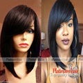 Hot Sale Short Bob Wigs With Bangs Color #1B Silky Straight Synthetic Lace Front Wig For Black Women Short Cut Wigs