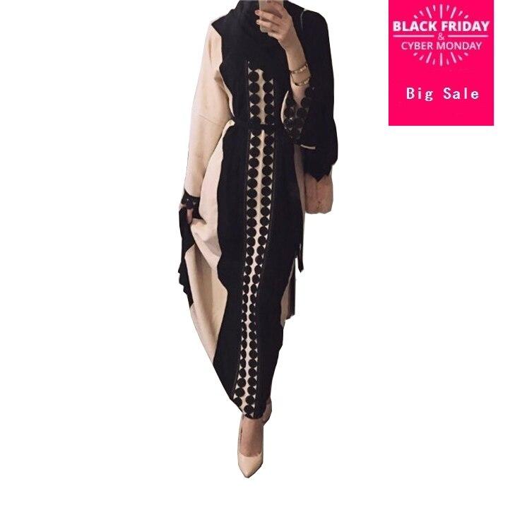Plus size 2018 Adult lace cotton liene abaya ruffles stitching Musulmane Turkish Abaya Muslim Robes Prayer