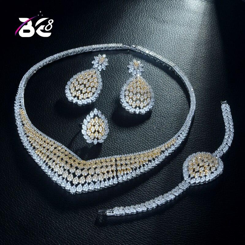 Be 8 haute qualité 2 tons CZ ensemble de Bijoux de mariage conception géométrique ensembles de mariée pour les femmes cadeau ensemble à la mode Bijoux Femme S306
