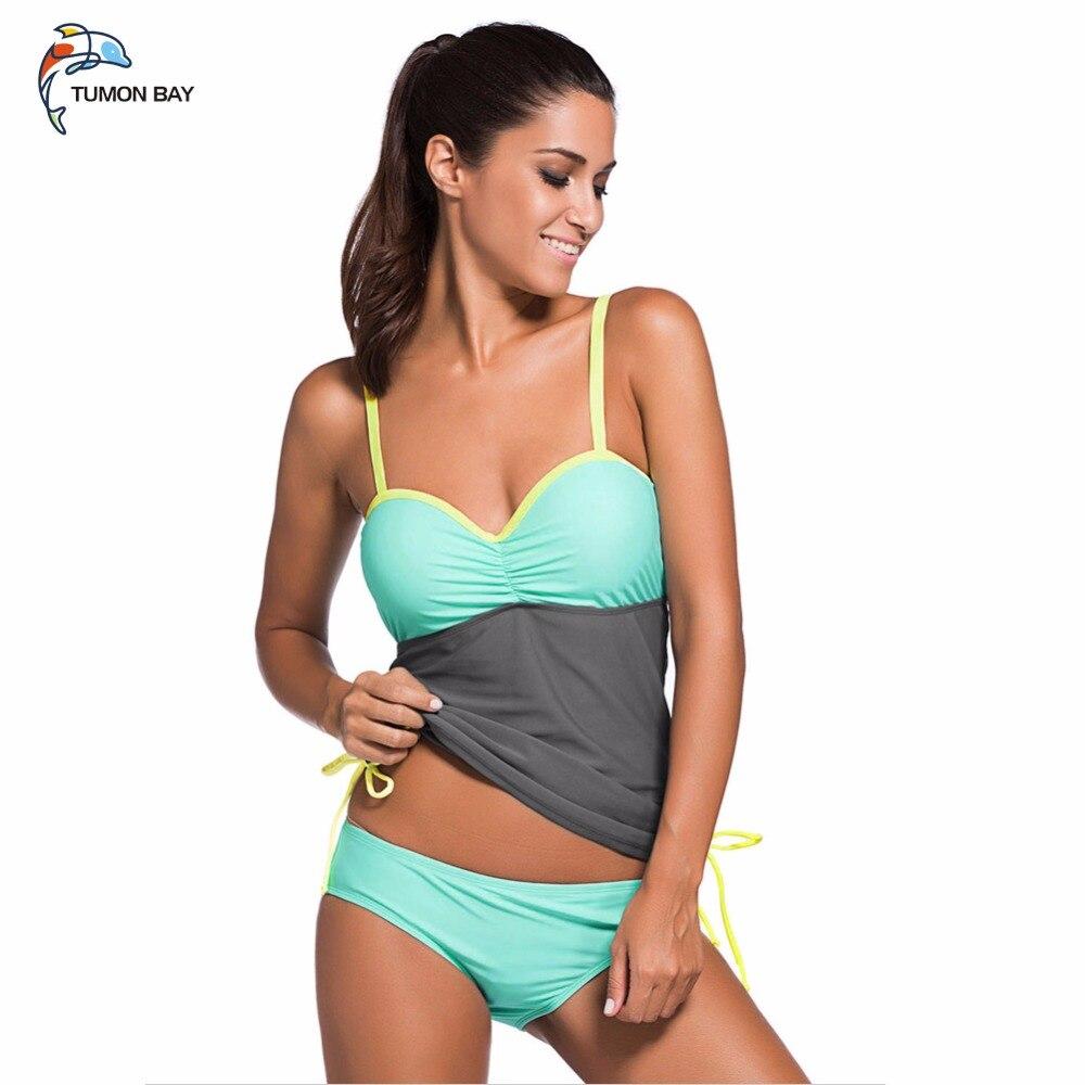 2018 Sexy Plus size Women Color Block Tankini Swimsuit Women 2pcs Swimwear Padded Bathing Suits Female Beach Wear XXL 0