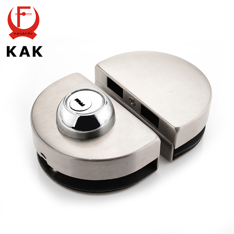 KAK Double Glass Door Lock 304 Stainless Steel Single Open Frameless Door Hasps For 10-12mm Thickness Furniture Hardware