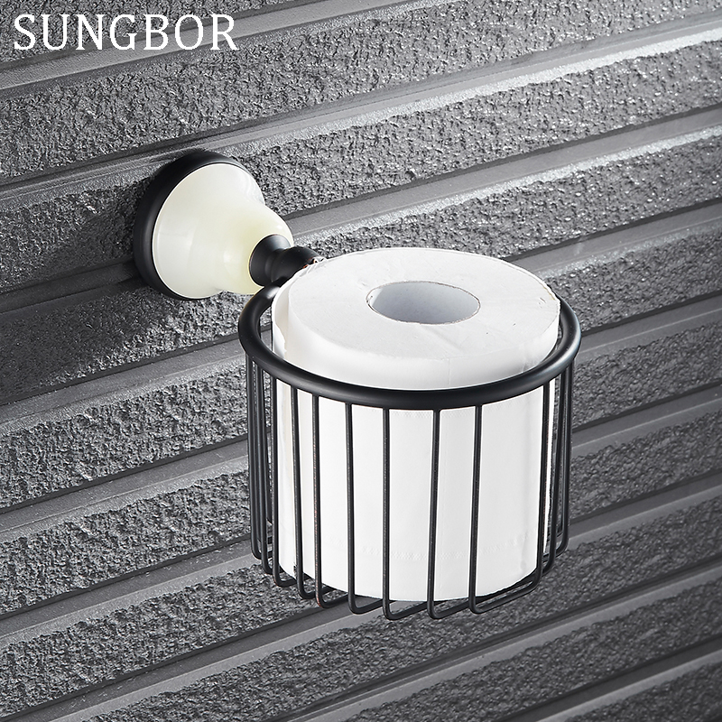 European-Style Jade Stone Black Brass Holder Paper Towels Basket Toilet Paper Holder Accessories For Bathroom SY-4807H ywtj cute simple cartoon spirit style cylinder paper towels holder blue orange 2 pcs