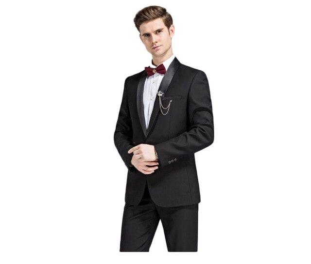 2016 Hot Black Peak Lapel Groom Tuxedos Single Breasted Groomsmen Best Man Suits 2 Pieces (Jacket+Pants) Wedding Formal Suits