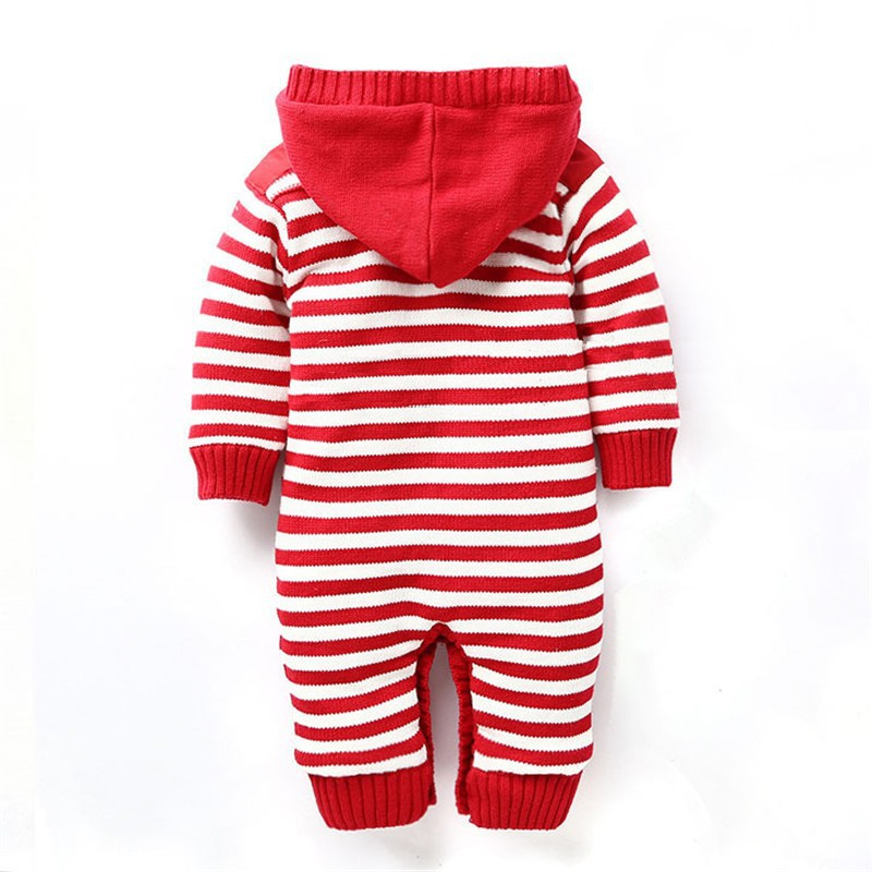 Baby Boys Girls Romper Thick Fleece Warm Cardigan for Winter Kids Knitted Sweater Romper Infant\'s Thick Climbing Clothes Hooded Baby Outwear CL0434 (5)