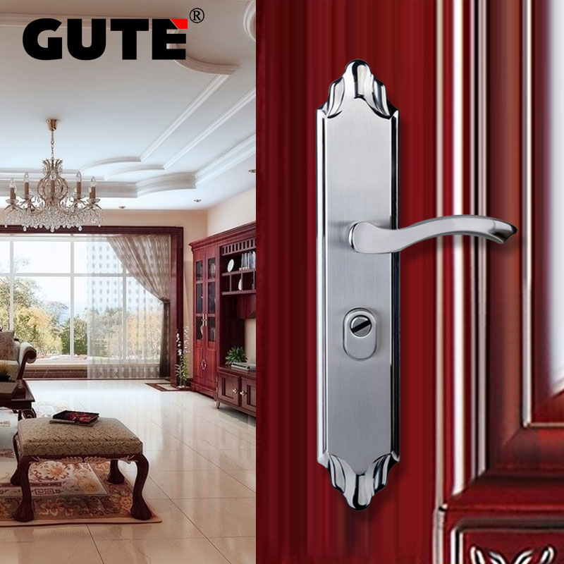 GUTE 304 Stainless Steel Outdoor Door Lock Brushed Finish Polishing Double Latch Front Exterior Door Lock Anti-theft new quality medium type lock body 304 stainless steel anti theft lock steel door lock double activity double fast lockset
