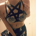 New women sexy Body Harness Gothic Harajuku pentagram rave wear bondage bra sexy lingerie pentagram bondage harness blte