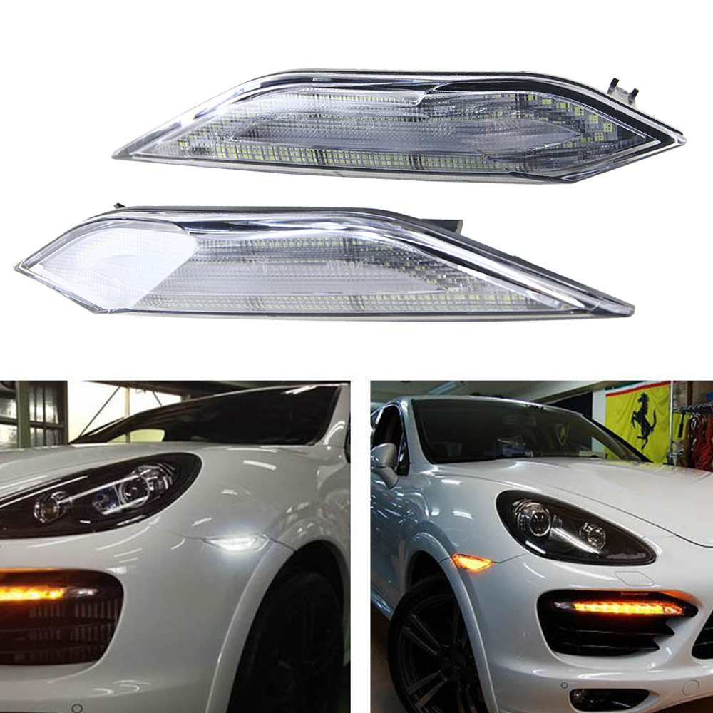 Euro Style Clear Lens Amber/White Switchback LED Side Markers For Porsche Cayenne 2011-2014 indicator turning light+running