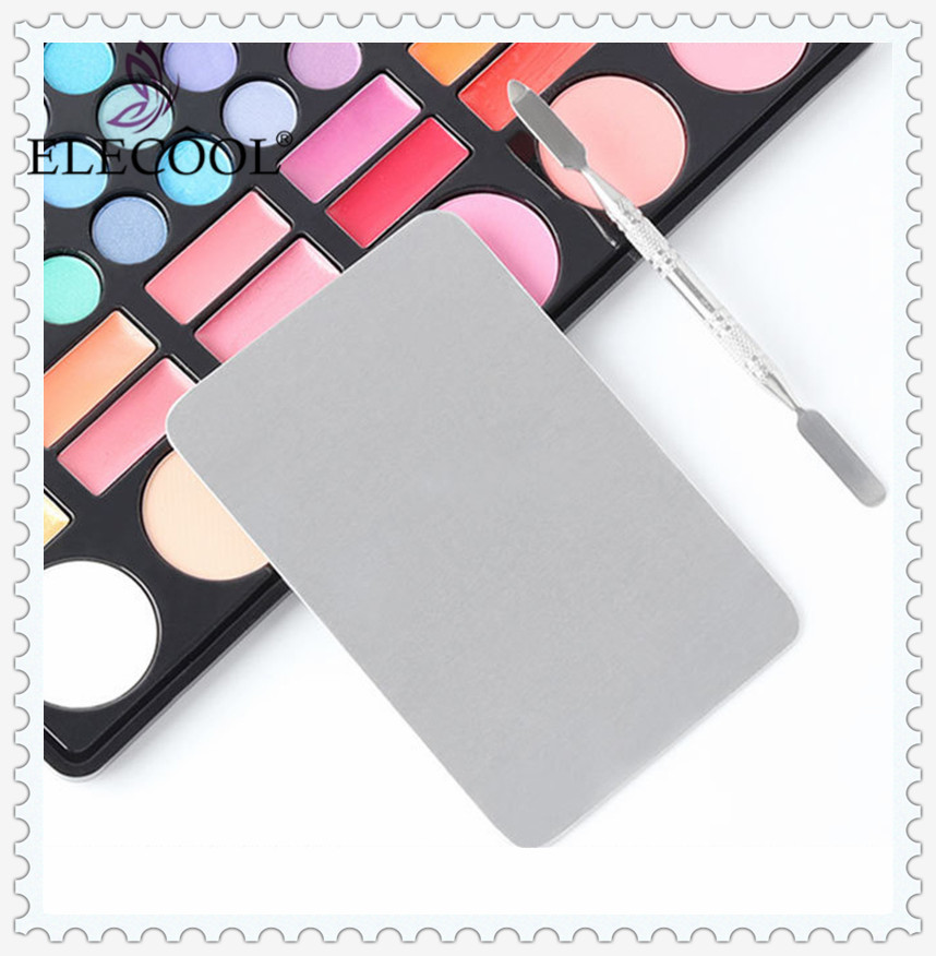 ELECOOL 1pcs Stainless Steel Makeup Nail Art Polish Foundation Eyeshadow  Eye Shadow Mixing Palette + Spatula Rod Tool