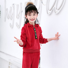 Kids Clothes 2019 new Long sleeve Gold velvet Childrens suit baby Hooded coat+pants 3-12 years Baby Girl