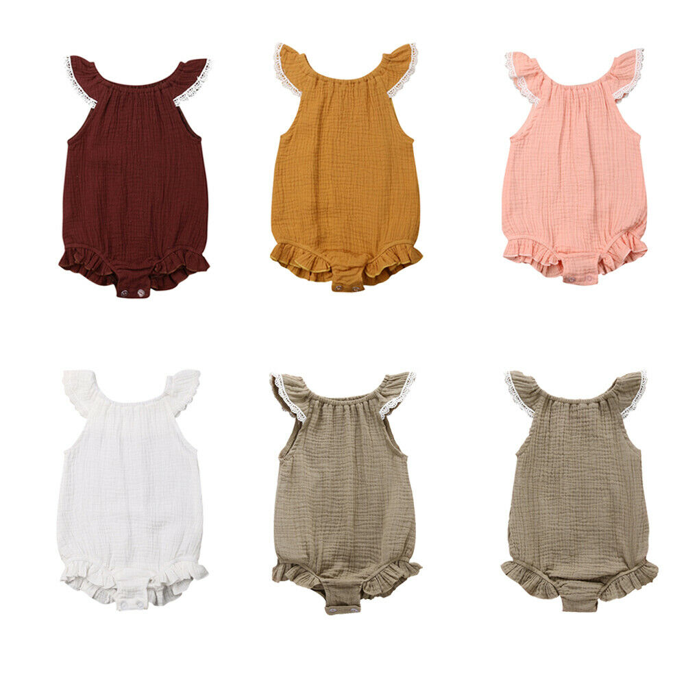 New Cute Summer Newborn Baby Girl Ruffle Solid   Romper   Jumpsuit Outfit Clothes 0-24M
