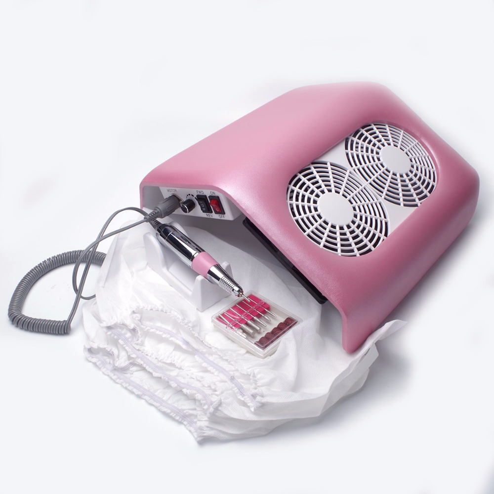 Strong Power 48W Nail Dust Collector 2 Fans Nail Fust Fan Nail Dust Collector Cacuum Collector with 3 bags Nail Art Machine the collector