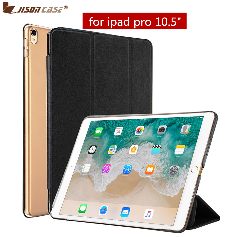 For iPad Pro 10.5 2017 Case Jisoncase Smart Cover PU Leather Tablet Cases for Apple iPad Pro 10.5 inch Transparent Back Covers surehin nice smart leather case for apple ipad pro 12 9 cover case sleeve fit 1 2g 2015 2017 year thin magnetic transparent back