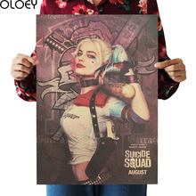 OLOEY 1PC 51.5X36cm Suicide Squad Margot Robbie Harley Quinn Film Vintage Poster Home Decor Painting Classic Prints