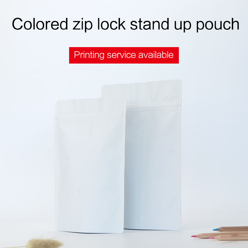 matte white stand up pouch with zipper aluminum foil zip lock bag tea coffee bean food packaging bags custom printing available