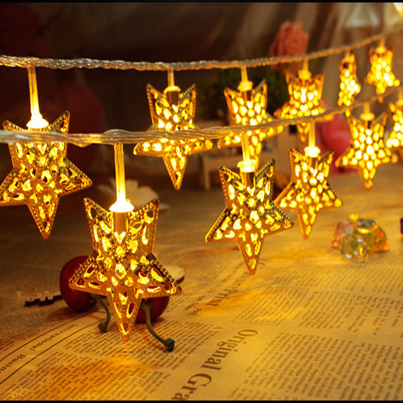 Golden Star Led String Lights 5m 20 Christmas Party Decorative Lighting Lamp Indoor Bedroom Fairy In From On