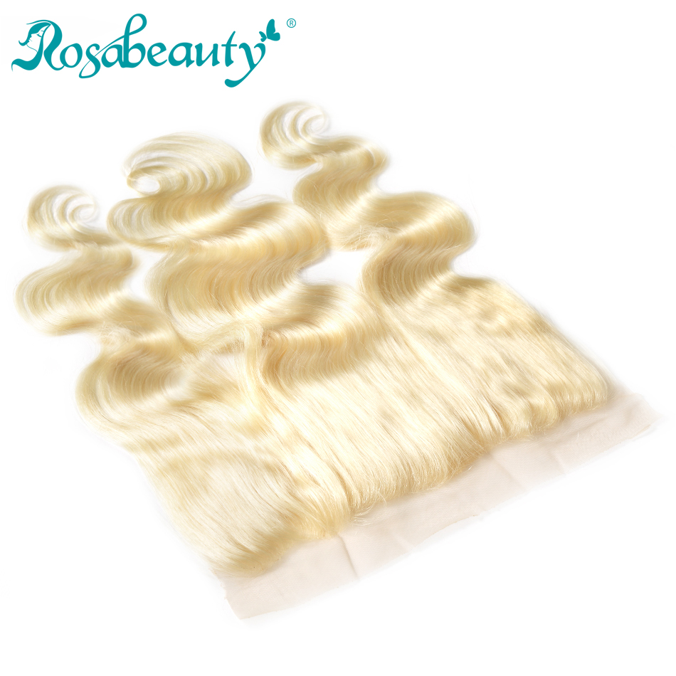 Rosa beauty #613 Blonde Lace Frontal Closure Body Wave 13x4 Ear to Ear Frontal Colored Remy Hair Shipping Free image