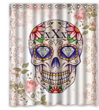 Pink Floral Sugar Skull Custom Shower Curtain Home Decor