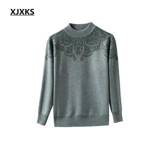 Image 2 - XJXKS 2019 new winter thick warm warm cashmere sweater women pullover loose plus size fashion diamond printed women tops