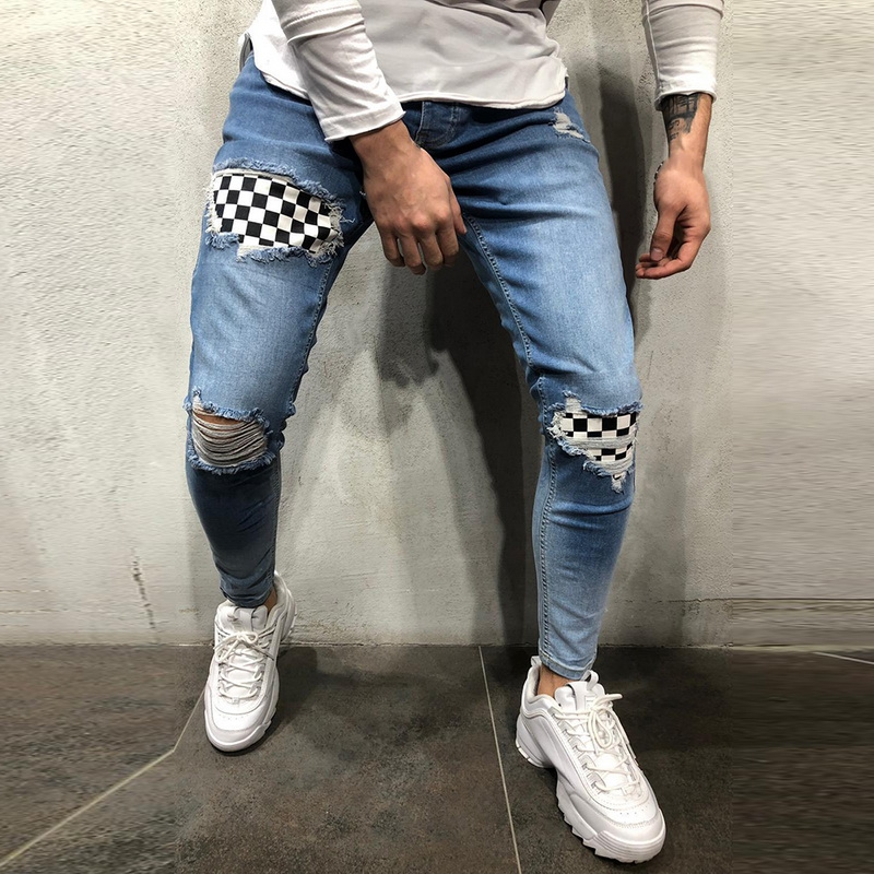 Mens Denim Jeans Fashion Badge Worn Patchwork Skinny Pants Slim Fit Zipper Destroyed Gothic Style Ripped Jeans