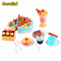 Kitchen Toys For Kids 75Pcs Set Plastic Kitchen Cutting Toy Birthday Cake Pretend Play Food Toy
