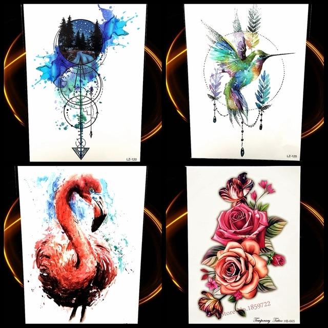 Akwarela Kompas Tymczasowy Tatuaż Naklejki Latające Ptaki