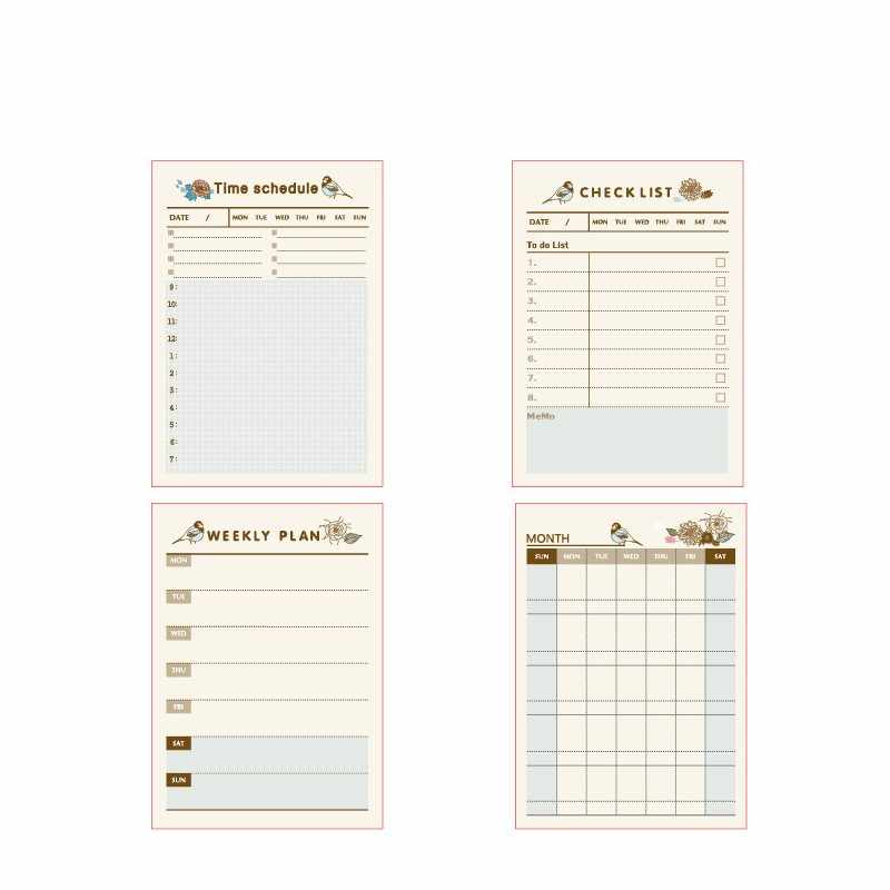 Cute Weekly Monthly Work Planner Self Stick Notes Self-Adhesive Sticky Note Cute Notepads Posted Writing Pads Stickers Paper