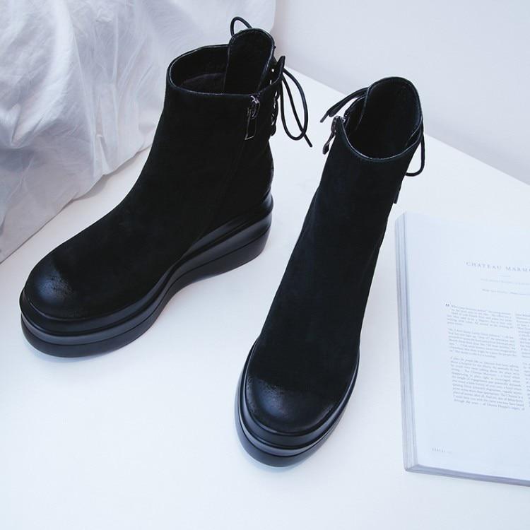 Mujeres Tacón 2018 Zapatos {zorssar} Moda Botas Nieve Con marrón Tobillo Mujer Cálido Nueva De Negro Llegada Las Invierno La Plataforma A0w701q