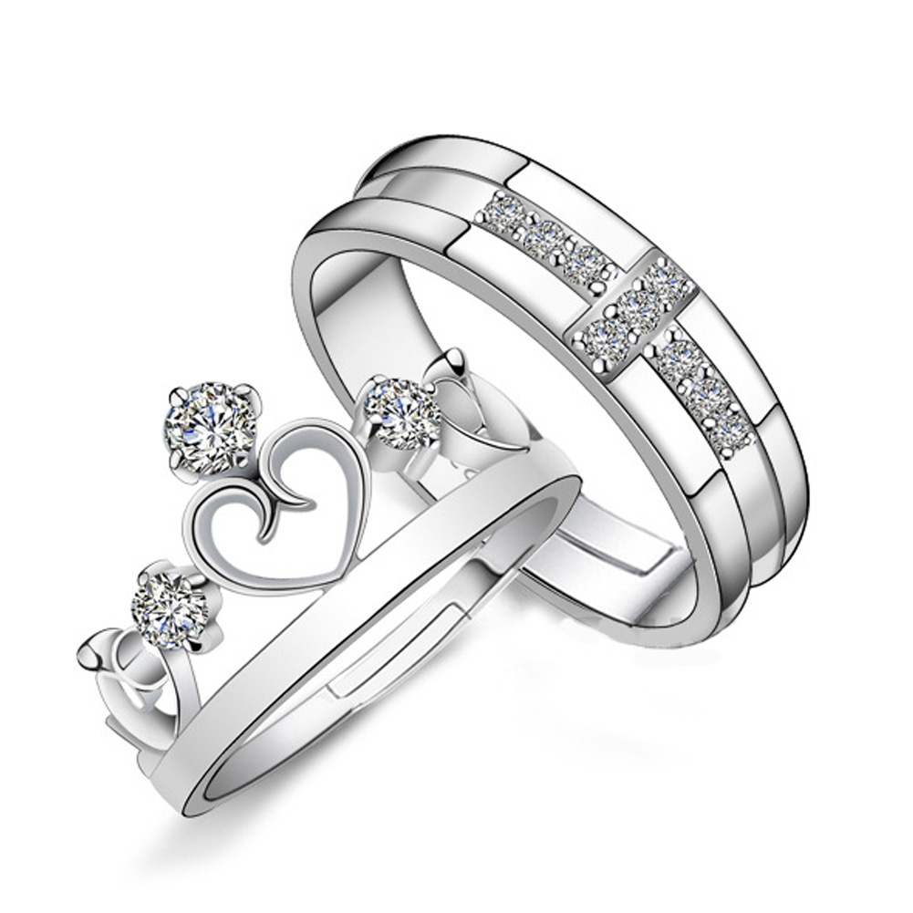 New Stylish Crystal Rhinstone Prince and Princess Crown Silver Color Couple Lover's Adjustable Rings