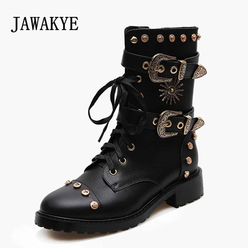 2018 Punk Style Ankle Boots Woman Round Toe Rivet Metal Buckle Military Boots For Women Fashion Real Leather Platform boots