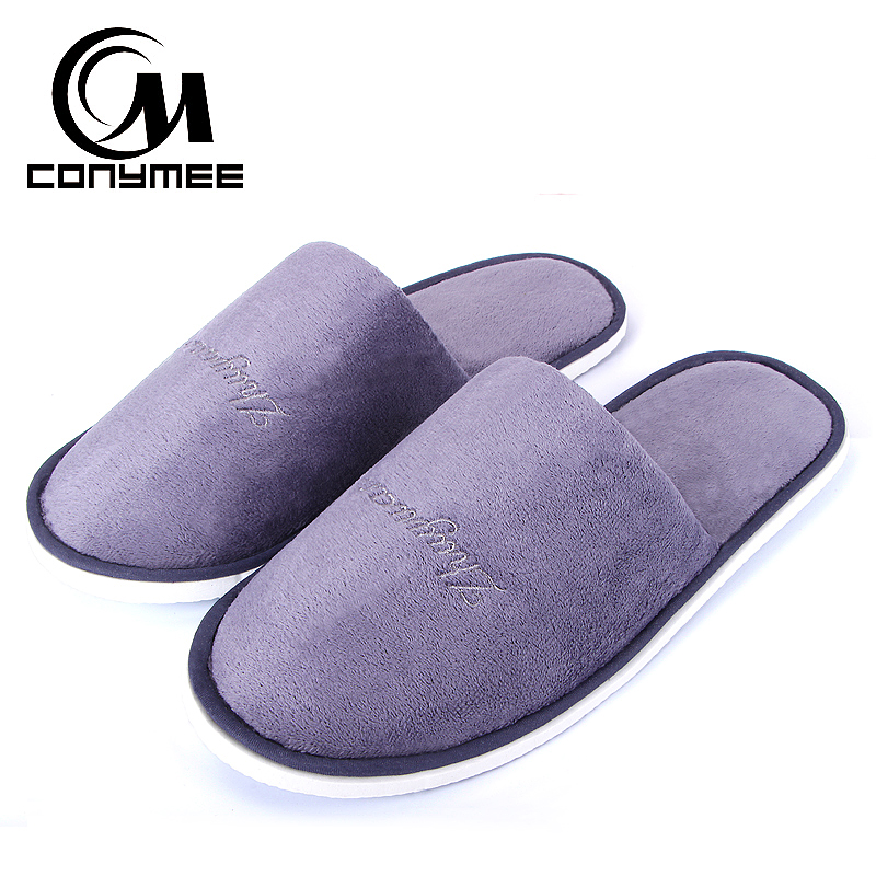 CONYMEE Sneakers Men's Home Indoor Slippers Casual Shoes Couple Plush Velvet Travel Hotel Slipper Pantufas Women Floor Flat Shoe