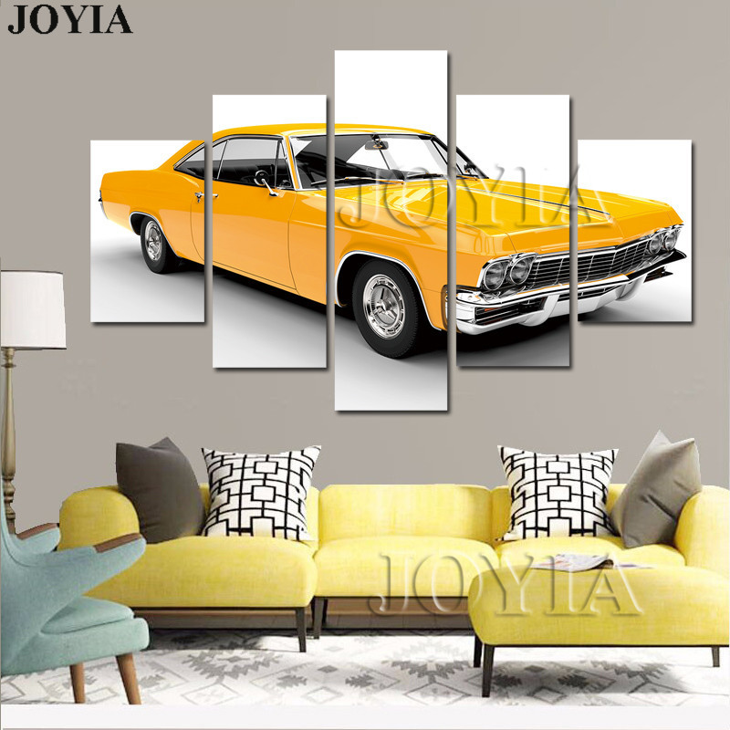 5 Piece Wall Decor Muscle Yellow Car Pictures Classic Auto Canvas ...