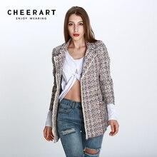 Cheerart Blazer Tweed Women Colorful Wool lends And Jackets Female Slim Ladies Blazers Coat Korean Style Femme Suit