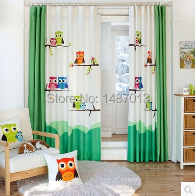 Pastorale cartoon uil kinderkamer gordijn gordijn voor woonkamer ...