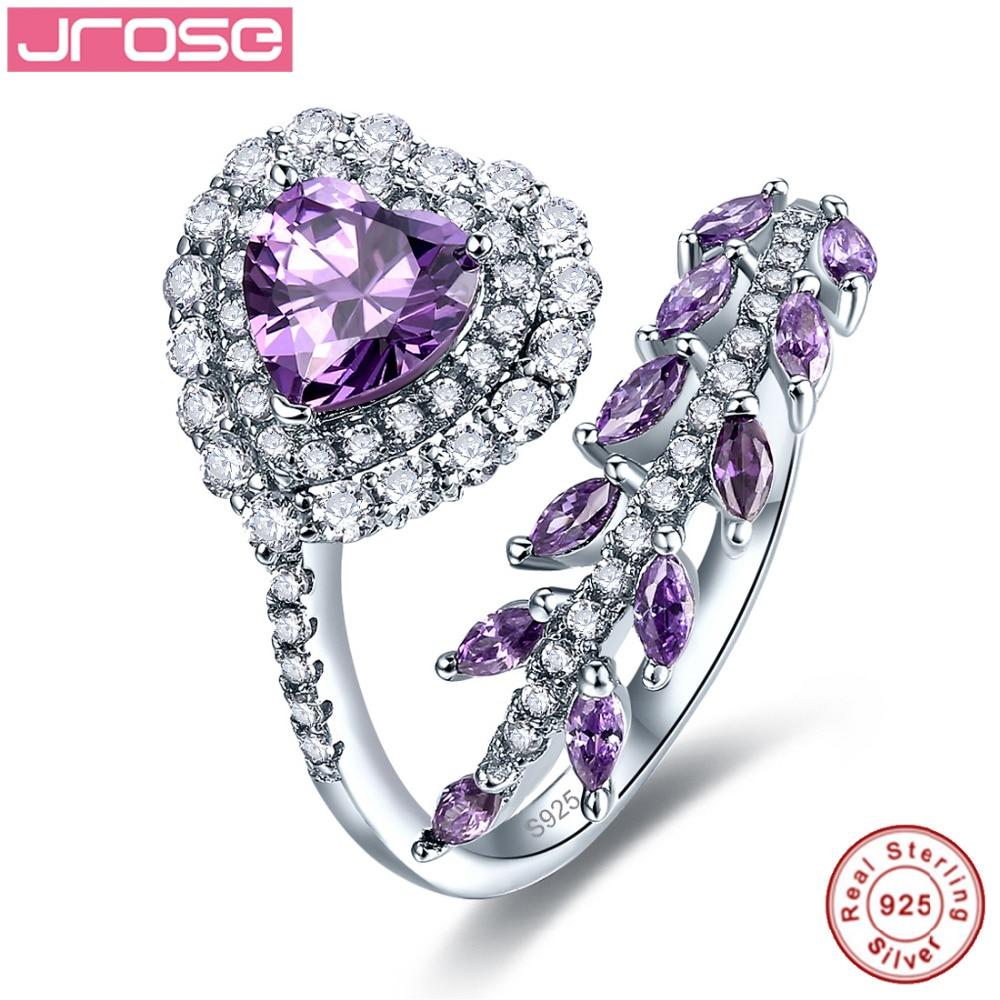Jrose 100% 925 Standard Silver Purple Ring Women Engagement Anniversary Ring Finger Famous Original Jewelery