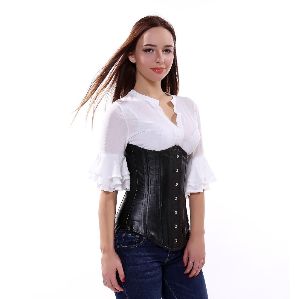 c11f7c58b07ef Black Faux Leather Gothic Zipper underbust Corset Steampunk Clothing ...